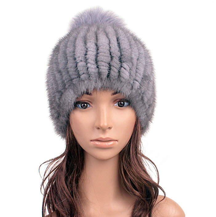 4cb76048be8 NAME Luxury Genuine Whole Mink Fur Hats With Fox Fur Ball Women Winter  Knitted Beanies - Blue Grey