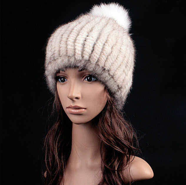 63cfbd8806c NAME Luxury Genuine Whole Mink Fur Hats With Fox Fur Ball Women Winter  Knitted Beanies - White Grey