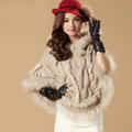 Luxury Raccoon Fur Collar Autumn Winter Rabbit Fur Shawl Poncho With Hoody Knitted Women's Sweatercoat Beige