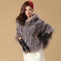 Luxury Raccoon Fur Collar Autumn Winter Rabbit Fur Shawl Poncho With Hoody Women Knitted Pullovers Grey
