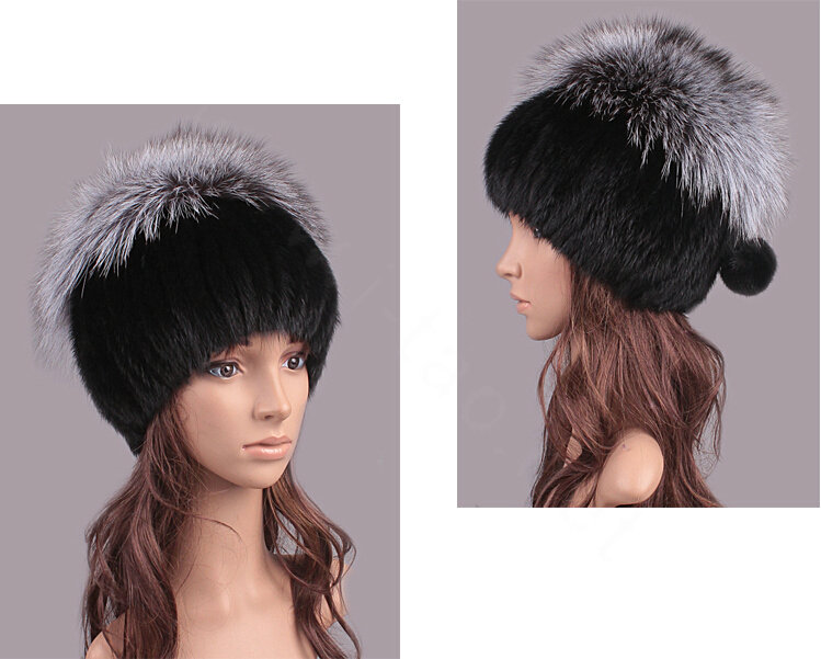 60f2055845c NAME Luxury Women Winter Knitted Beanies Genuine Mink Fur Hat With Silver Fox  Fur Pom Poms Top - Black