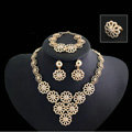 Multilayer Flower Wedding Party Jewelry Sets Crystal Gold Plated Bridal Necklace Earrings Bracelet Ring 4pcs/set