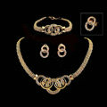 New 18K Gold Plated Party Wedding Bridal Jewelry Set Round Statement Necklace Earrings Bracelet Ring 4pcs/set