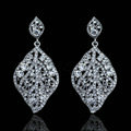 New Arrival Leaf Shape Crystal Dangle Drop Earrings Wedding Jewelry Earrings for Women Evening Party