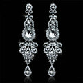 New Arrival Luxurious Romantic Chandelier Austrian Crystal Bridal Earrings White K Plated Long Earrings for Women