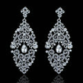 New Design Crystal Unique Fan Shape Dangle Drop Earrings Wedding Jewelry Earrings for Women