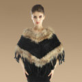 New Fashion Women Genuine Knitted Rabbit Fur Shawl With Raccoon Fur Tassels Poncho - Black