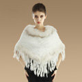 New Fashion Women Genuine Knitted Rabbit Fur Shawl With Raccoon Fur Tassels Poncho - White