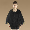New Fashion Women Genuine Knitted Rabbit Fur Shawl With Raccoon Fur Tassels Pullover - Black