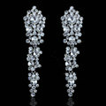 New Luxurious Glass Crystal Beads Cluster Bridal Long Drop Earrings for Women Wedding Accessories