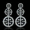 New Silver Plated Exaggerated Circle Zinc Alloy Rhinestone Big Bridal Earrings for Women Jewelry