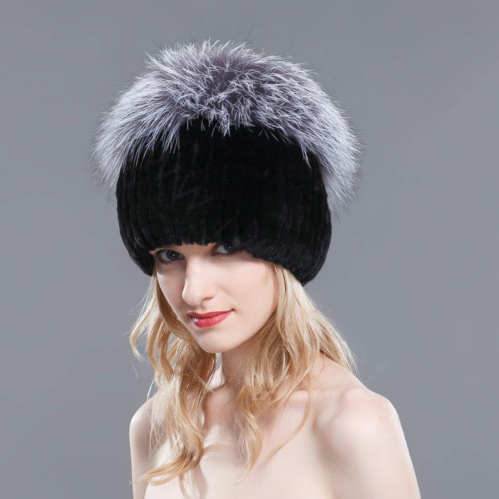 4b00822c56e NAME New Winter Genuine Rex Rabbit Fur Hat With Fox Fur Pom Poms Top Knitted  Beanies For Women - Black