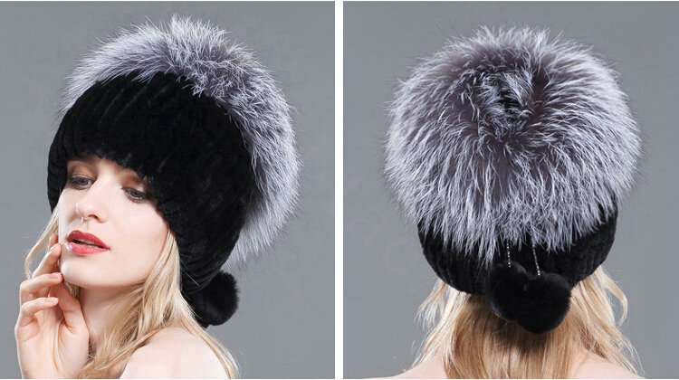 3be6c97c60a NAME New Winter Genuine Rex Rabbit Fur Hat With Fox Fur Pom Poms Top  Knitted Beanies For Women - Black