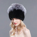 New Winter Genuine Rex Rabbit Fur Hat With Fox Fur Pom Poms Top Knitted Beanies For Women - Black