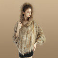 New Women Fashion Genuine Knit Rabbit Fur Poncho With Nature Raccoon Fur Hooded Shawl - Brown
