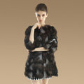 New Women Nature Silver Fox Fur Jacket Female Fashion Long Three Quarter Sleeve Real Fur Coat