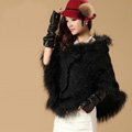 Newest Raccoon Fur Collar Autumn Winter Rabbit Fur Shawl Poncho With Hoody Knitted Women's Sweatercoat Black
