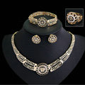 Noble Fashion Wedding Jewelry Sets Africa Lion Crystal Gold Plated Bridal Necklace Earrings Bracelet Ring 4pcs/set