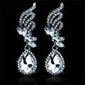 Noble Style Austrian Crystal Bridal Earrings White K Plated Angel Wings Romantic Women Earrings
