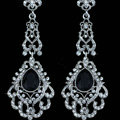 Original Design Chandelier Austrian Black Crystal Bridal Earrings White K Plated Long Earrings for Women