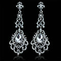 Original Design Chandelier Austrian Crystal Bridal Earrings White K Plated Long Earrings for Women