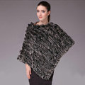 Pretty Delicate knitted Rabbit Fur Shawl Female Party Pullover Women's Triangle Fur Poncho - Black frost