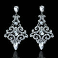 Pretty Geometic Czech Rhinestone Crystal White Gold Plated Earrings for Women Wedding Jewelry Bridal Earrings