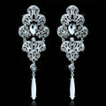 Pretty Top Quality Elegant Long Drop Earrings Silver Rhinestone Crystal Bridal Earrings for Women Fashion Jewelry