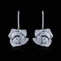 Super Exquisite Rose Bridal Brinco Jewelry Gold Plated Wedding Top Cubic Zirconia Drop Earrings for Women
