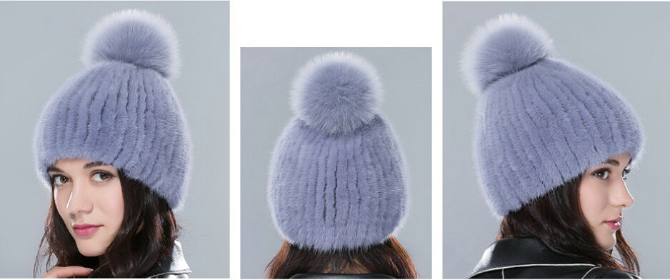 6b8f140cc48 NAME Top Quality Genuine Whole Mink Fur Hats With Fox Fur Ball Women Winter  Knitted Beanies - Blue
