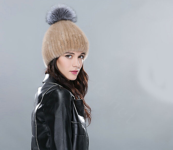 49c8c1d3094 NAME Top Quality Genuine Whole Mink Fur Hats With Silver Fox Fur Ball Women  Winter Knitted Beanies - Camel