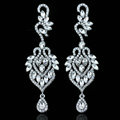 Unique Design Czech Rhinestone Crystal White Gold Plated Bridal Elegant Earrings for Women Fashion jewelry