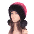 Unique Real Mink Fur Hat With Fox Fur Balls Women Winter Knitted Beanies Dome Caps - Black Red
