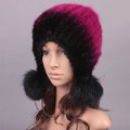 Unique Real Mink Fur Hat With Fox Fur Balls Women Winter Knitted Beanies Dome Caps - Black Rose