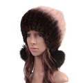 Unique Real Mink Fur Hat With Fox Fur Balls Women Winter Knitted Beanies Dome Caps - Coffee Beige