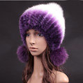 Unique Real Mink Fur Hat With Fox Fur Balls Women Winter Knitted Beanies Dome Caps - Purple White