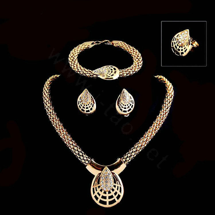 Name Wedding Bridal Party Jewelry Sets 18k Gold Plated Teardrop Shape Statement Necklace Earrings Bracelet Ring 4pcs Set
