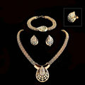 Wedding Bridal Party Jewelry Sets 18K Gold Plated Teardrop Shape Statement Necklace Earrings Bracelet Ring 4pcs/set