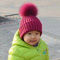 Winter Baby's Knitted Hat With Fox Fur Poms Poms Unisex Kids Casual Snow Caps - Wine Red