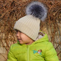 Winter Baby's Knitted Hat With Sliver Fox Fur Poms Poms Unisex Kids Casual Beanies - Beige
