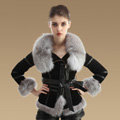 Winter Fashion Women Natural Sheep Leather Coat With Genuine Fox Fur Collar Belt Jackets - Black