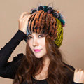 Winter Knitted Beanies Genuine Rex Rabbit Fur Hat With Fox Fur Flower Top Women Hat - Colorful