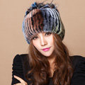Winter Knitted Beanies Genuine Rex Rabbit Fur Hat With Fox Fur Flower Top Women Hat - Four Color