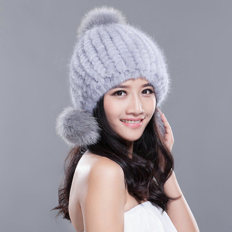 a68d1a6d347 NAME Winter Real Mink Fur Hat With Fox Fur Pom Poms Women Knitted Thicken  Ear Protection Caps - Blue Grey