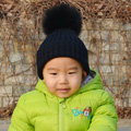 Winter Warm Baby's Knitted Hat With Fox Fur Poms Poms Unisex Kids Casual Snow Caps - Black