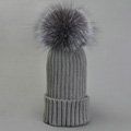 Winter Warm Cute Baby's Knitted Hat With Sliver Fox Fur Poms Poms Unisex Kids Casual Caps - Grey