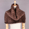 Winter Women Knitted Genuine Mink Fur Shawl Scarf Elasticity Large Fur Neck Wraps - Brown