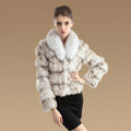 Women Luxury Genuine Fox Fur Coats Fashion Short Jacket Winter Real Fur Outerwear - Nature White