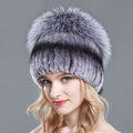 Women Winter Genuine Rex Rabbit Fur Hat With Fox Fur Pom Poms Top Knitted Beanies - Nature Blue