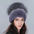 Women Winter Knitted Beanies Genuine Rex Rabbit Fur Hat With Fox Fur Pom Poms Top - Nature Blue